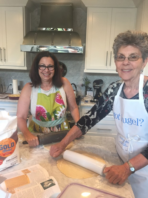 Friends practice making pies before the holidays. (Courtesy of Judy Bart Kancigor)