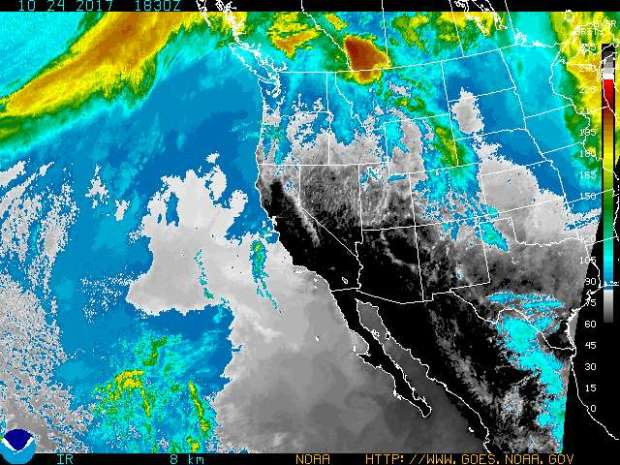 So much of California is colored black in this enhanced infrared satellite image from Tuesday, Oct. 24, 2017, because the humidity levels are so low. (Image courtesy of the National Weather Service)