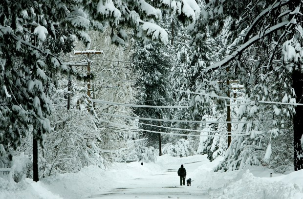 A man walks his dog in the snow along Pine Knot Avenue north of Village Drive heavy snow blanketed the San Bernardino Mountains cutting power to Big Bear City at times in Big Bear, CA. Thursday, Jan. 7, 2016.