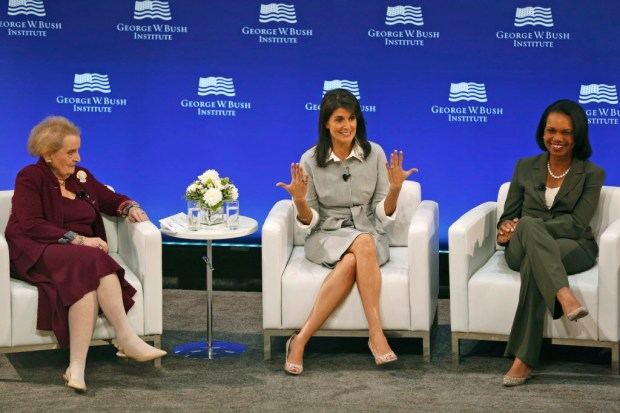 Former U.S. Secretary of State Madeleine Albright, left, U.S. Ambassador to the United Nations Nikki Haley, center, and former U.S. Secretary of State Condoleezza Rice participate in a panel discussion at a forum sponsored by the George W. Bush Institute in New York, Thursday, Oct. 19, 2017. (AP Photo/Seth Wenig)