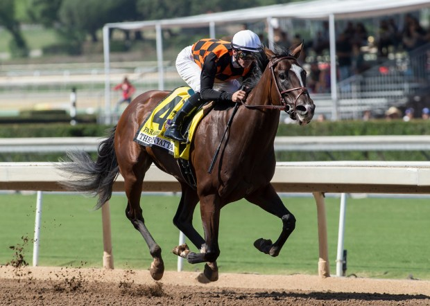 Paradise Woods and jockey Flavien Prat win the Zenyatta Stakes horse race, Saturday, Sept. 30, 2017 at Santa Anita Park in Arcadia Calif. (BENOIT PHOTO via AP)