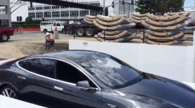 Elon Musk shared this photo of The Boring Company car elevator, which delivers the vehicle onto an automated skate