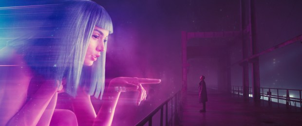 "Ana de Armas as Joi and Ryan Gosling as K in ""Blade Runner 2049."""