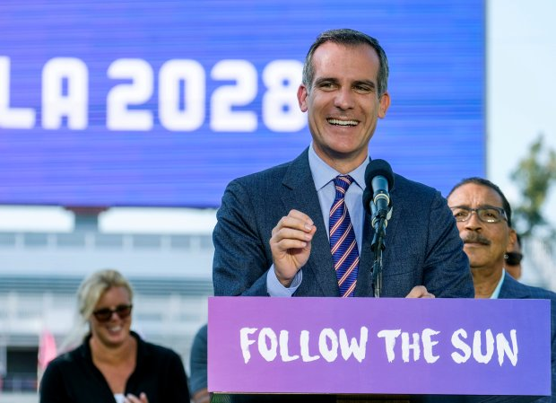 Los Angeles Mayor Eric Garcetti at a press conference about the Olympic games in July. (AP Photo/Ringo H.W. Chiu, File)