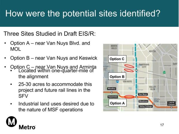This slide provided by Metro shows three options for Metro's maintenance and storage facility that would be built as part of the East San Fernando Valley Transit Corridor project. (Courtesy Metro)