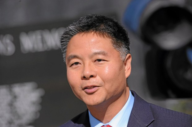 State Senator Ted Lieu does a television interview in Torrance. Photo by Brad Graverson/The Daily Breeze 01/31/14