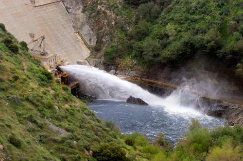 Water being released from Morris Dam in the San Gabriel Mountains. Releases flow down the San Gabriel River and into the ground water.
