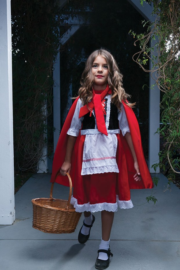 Samantha Downing, 8, of Lake Forest, plays the part of Little Red Riding Hood in OC Family's Fairytale Manor Halloween package. Shot on location at Heritage Museum of Orange County. Makeup by Butterfli Me makeup studio in Irvine. Deluxe Child Little Red Riding Hood costume, $34.99, available at HalloweenCostumes.com. (Photo by Ralph Palumbo, contributing photographer)
