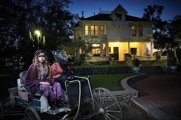 Ryen Olthoff, 11, and Parker Olthoff, 13, both of Mission Viejo, play the part of the Witch and the Big Bad Wolf in OC Family's Fairytale Manor Halloween package. Shot on location at Heritage Museum of Orange County. Makeup by Butterfli Me makeup studio in Irvine. (Photo by Ralph Palumbo, contributing photographer)