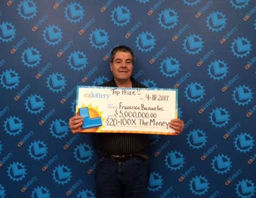 "Francisco Banuelos, 58, won $5 million from a $20 ""100X the Money"" California Lottery scratcher ticket sold in Pasadena, lottery officials announced Thursday, Oct. 12, 2017."