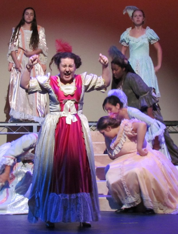 Nicole Ann Robinson, center, plays the role of Charlotte in the Hemet High School fall musical production of Cinderella. (Diane A. Rhodes, contributing photographer)