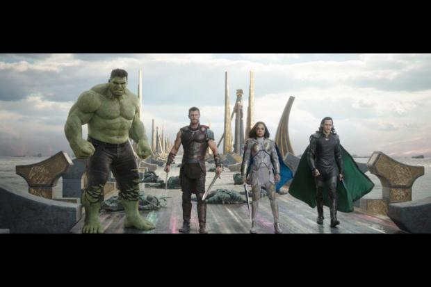 Hulk (Mark Ruffalo), Thor (Chris Hemsworth), Valkyire (Tessa Thompson) and Loki (Tom Hiddleston) overcome their differences to try to save Asgard from Hela, Goddess of Death. Photo courtesy Disney.