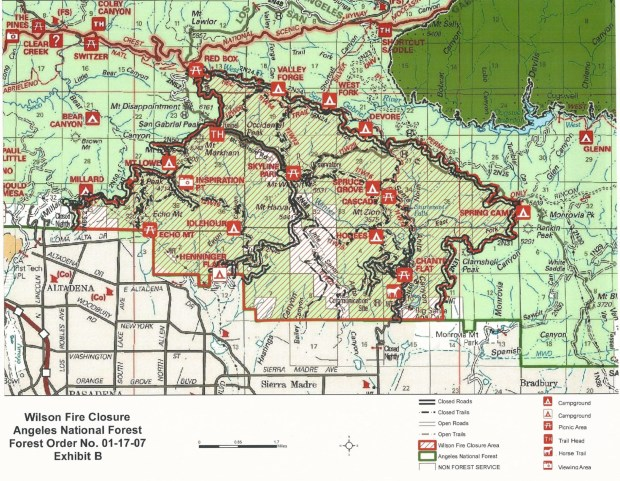 This map shows the area closed to the public because of the Wilson fire. (Courtesy of the U.S. Forest Service)