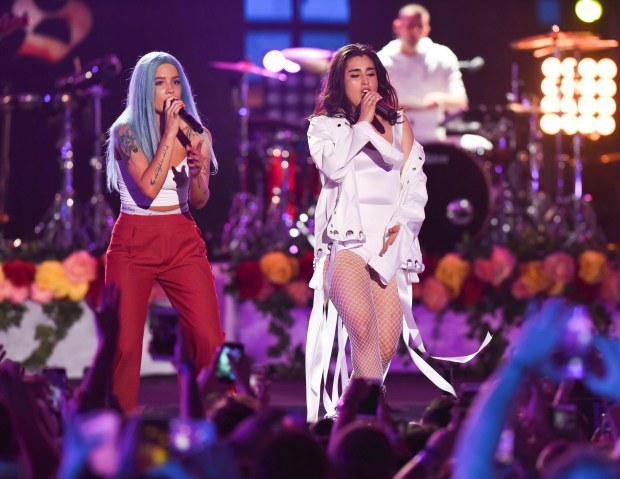 Halsey, left, and Lauren Jauregui perform at the iHeartRadio Summer Pool Party in Miami Beach on Saturday, June 10, 2017. (Photo by Michele Eve Sandberg, Invision/AP)