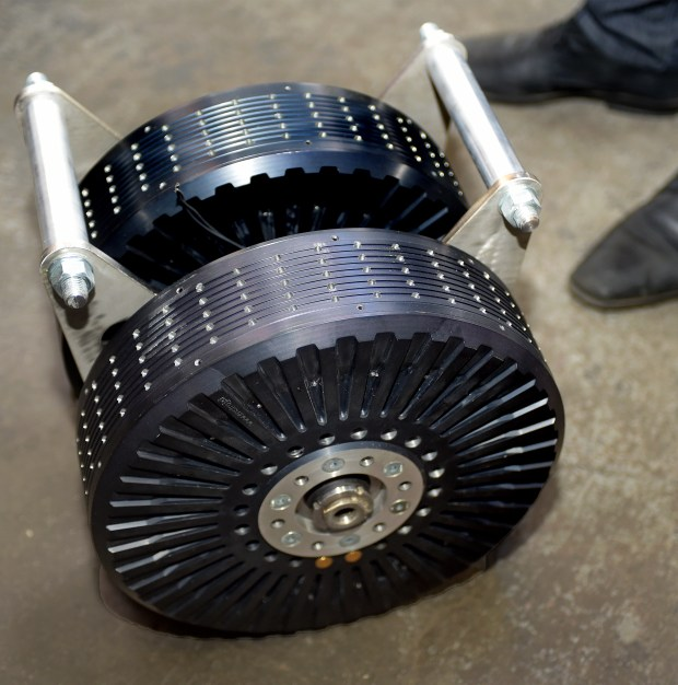 This is a prototype electric motor that may be used in Ampaire's first retrofitted all-electric, zero-emission plane. (Photo by Walt Mancini/Pasadena Star-News/SCNG)