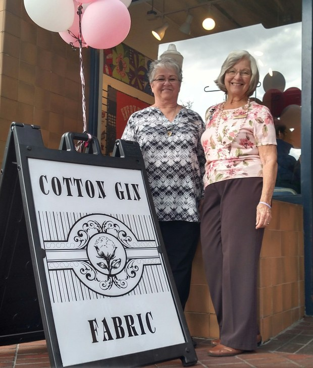 Redlands Sewing Center owners Christine Noriega (left) and Trenna Anderson, who are sisters, opened Cotton Gin Fabrics in August and celebrated the downtown Redlands store's grand opening Oct. 20-21, 2017. (Tabetha Wittenmyer/Correspondent)