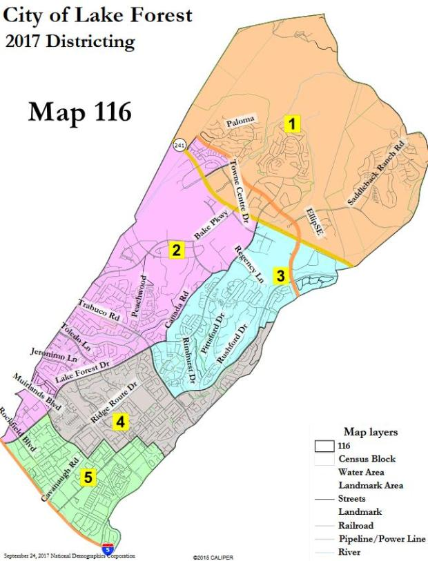 Map 116, which is viewable at DrawLF.org, shows the City of Lake Forest split into five districts. City Councilmembers chose to bring this map back with modifications to its next regular meeting, Nov. 21.