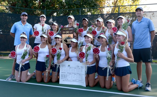 Corona del Mar celebrates their win over University in the girls tennis CIF-SS Division 1 final at the Claremont Club in Claremont, CA., Friday, November 10, 2017. Corona del Mar would go on to win the title. (Staff photo by Jennifer Cappuccio Maher/Inland Valley Daily Bulletin/SCNG)