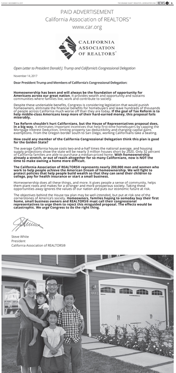 The California Association of Realtors placed full-page ads in seven California newspapers, including The Orange County Register, calling on state Republicans to oppose provisions curtailing tax benefits of homeownership. (Courtesy of CAR)