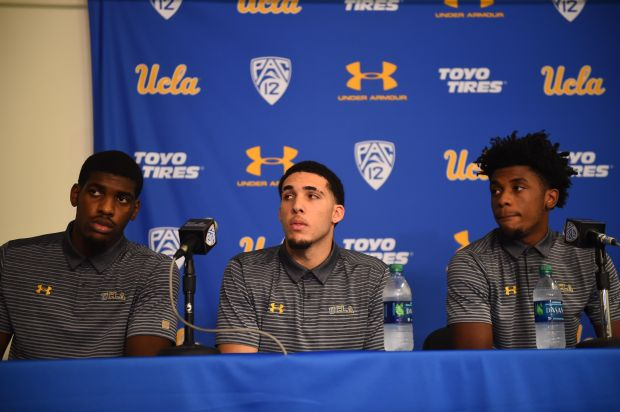 UCLA basketball players Cody Riley, left, LiAngelo Ball and Jalen Hill appear Wednesday, Nov. 15, 2017, at a press conference where they apologized for shoplifting in China and thanked President Trump for helping in their release. (Photo by Hans Gutknecht/Los Angeles Daily News)