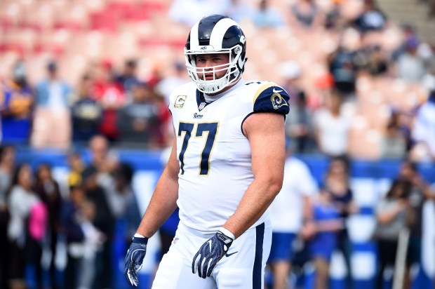 Los Angeles Rams lineman Andrew Whitworth shows off the all-white uniform combination in a November game. (Photo by Hans Gutknecht, Los Angeles Daily News/SCNG)