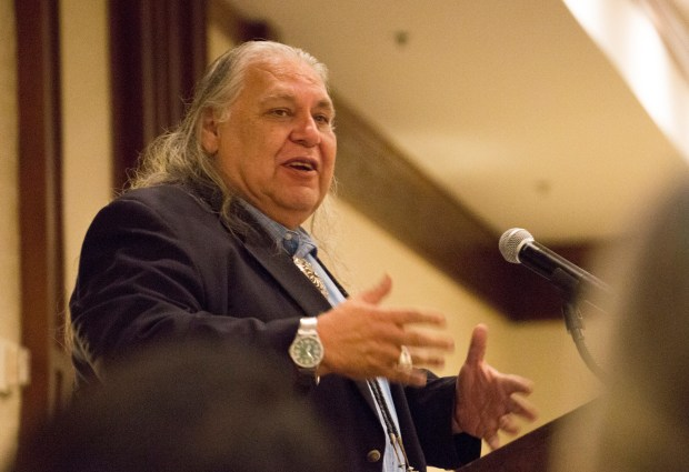 Paul Apodaca, associate professor of sociology and American studies at Chapman University, delivers his keynote address at the Native American Heritage Month reception on Nov. 8 at the Fullerton Marriott. (Photo courtesy of Cal State Fullerton)