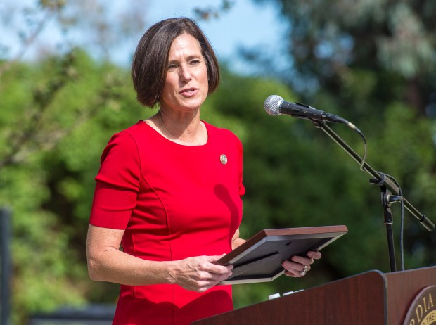 Congresswoman Mimi Walters speaks to the crowd gathered for a ceremony commemorating the renaming of Concordia University Irvine's Veterans Resource Center to the Staff Sgt. Matthew Thompson Veterans Resource Center, in Irvine on Friday, November 10, 2017. CUI alum Staff Sgt. Matthew Thompson, 28, was killed last year in Helmand Province, Afghanistan. (Photo by Mark Rightmire, Orange County Register/SCNG)