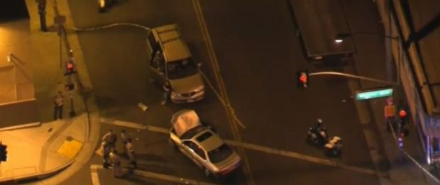 In a three-vehicle collision about 7:25 p.m. Thursday, Nov. 16, 2017, one vehicle struck a group of pedestrians at Indiana Street and Whittier Boulevard in Boyle Heights, killing two and injuring three others. (Image from NBC4 video)