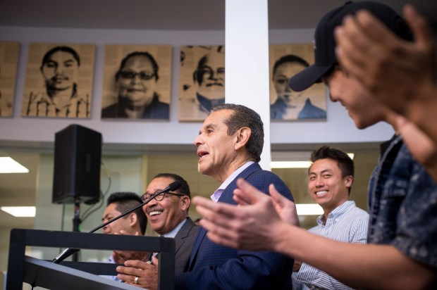 Former Los Angeles Mayor Antonio Villaraigosa speaks after being endorsed for Governor by Los Angeles City Council President Herb Wesson at Homeboy Industries in Los Angeles on Nov. 20, 2017. (Photo by Sarah Reingewirtz, Pasadena Star-News/SCNG) . .