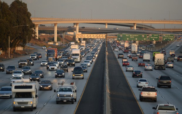 Drivers head west and east bound on the 10 Freeway in Ontario near the 15 interchange Monday November 20, 2017. (Will Lester-Inland Valley Daily Bulletin/SCNG)