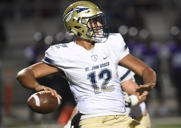 St. John Bosco quarterback DJ Uiagalelei (#12) looks to pass against Rancho Cucamonga during Friday's CIF-SS Division 1 second round playoff game at Rancho Cucamonga High School in Rancho Cucamonga, Ca., November 17, 2017. (John Valenzuela/Inland Valley Daily Bulletin/SCNG)