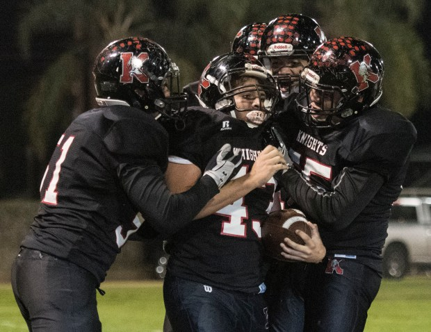 Katella team celebrate Miles Poland's touchdown during the CIF-SS Division 12 playoff semifinals game against Rancho Mirage at Glover Stadium in Anaheim on Friday, November 24, 2017. (Photo by Kyusung Gong/Contributing Photographer)