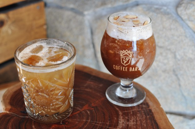 ThunderKing Coffee Bar, inside SOCIAL Costa Mesa, sells cold brew cocktails (both alcoholic and non-alcoholic). Booze infused drinks include The Best Buzz (coconut rum, cold brew, vodka, amaro, salted vanilla and cream) and Coldchata (Cutwater Spirit Horchata, cold brew, house salted vanilla, and turbinado).The menu also features seven non-alcoholic coffee cocktails ($6) made with nitro cold brew. (Photo Courtesy SOCIAL)
