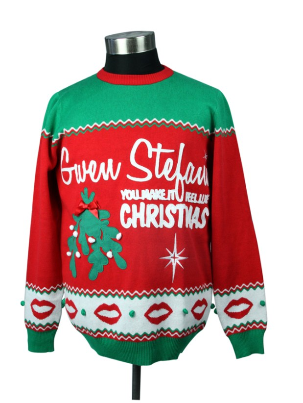 "Gwen Stefani has released a limited-edition ""You Make It Feel Like Christmas"" sweater ($74.99) and a bunch of other Christmas-themed merch for the holiday season. (Photo courtesy of gwenstefani.com)"
