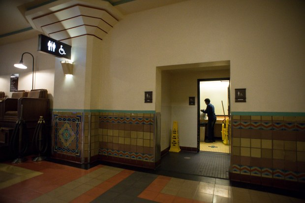 A man leaves a restroom at Union Station in Los Angeles on Nov. 28, 2017. Metro plans to spend $8 million to build new restrooms that are ADA compliant and upgrade the existing ones. (Photo by Sarah Reingewirtz, Pasadena Star-News/SCNG) . .