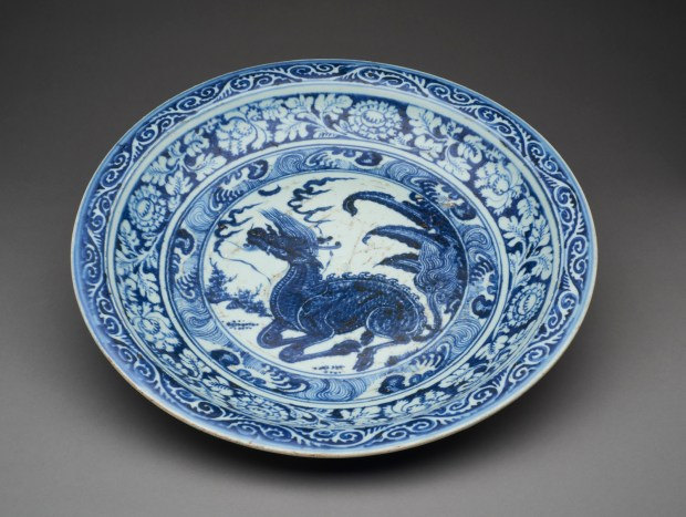 Blue and white porclain charger at the USC Pacific Asia Museum in Pasadena, which reopens Dec. 8. (Photo courtesy of the USC Pacific Asia Museum).