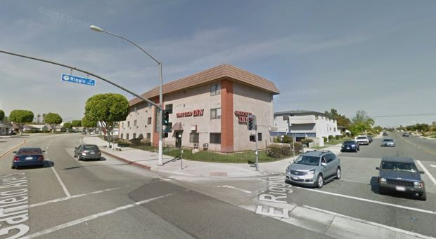 A person was injured just before 7 a.m. when a vehicle crashed into the Garfield Inn on the 2200 block of Garfield Avenue in Monterey Park.