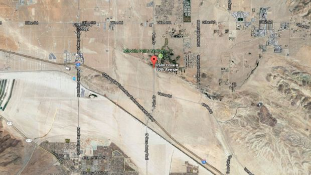 Fire that broke out Tuesday, Nov. 14, 2017, at several spots east of Palm Drive and 20th Avenue near Desert Hot Springs had consumed about 40 acres of brush and was 80 percent contained as of Wednesday evening. The fire continued to burn Thursday. (Google Maps)