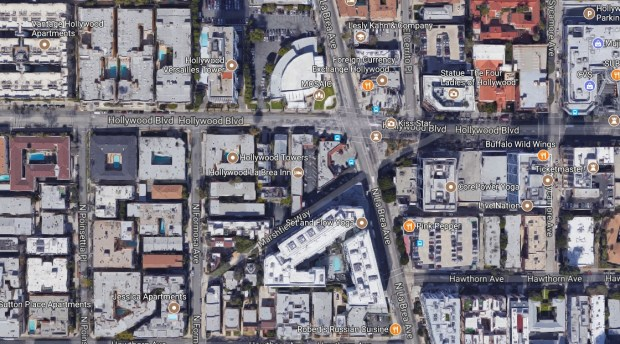 A 34-year-old transient has been charged with attempted murder in an alleged attack with a screwdriver and knife targeting four people on Nov. 22, 2017, near Hollywood Boulevard and La Brea Avenue. (Google Maps)