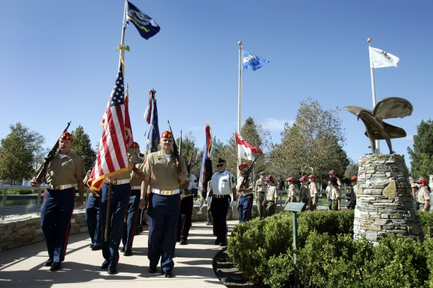 The Color Guard carry the flags at the start of the Veteran's Day Ceremony at Rancho Tapo Community Park in Simi Valley, Tuesday, November 11, 2008.(Michael Owen Baker/staff photographer)
