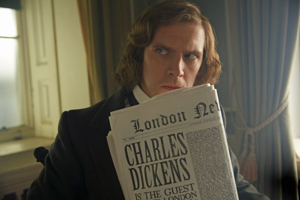 "Dan Stevens plays Charles Dickens, dramatizing the celebrated author's creation of ""A Christmas Carol,"" in ""The Man Who Invented Christmas."""