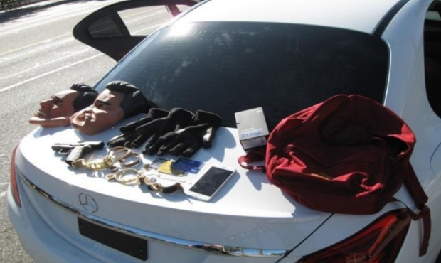 Glendale police recovered two masks, a replica handgun, and stolen jewelry and credit cards during the arrest of two adult males and one teen boy on Nov. 6. (Courtesy Glendale Police Department)