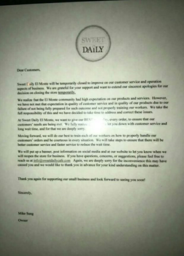 This letter was left on the closed Sweet Daily Cafe in El Monte.