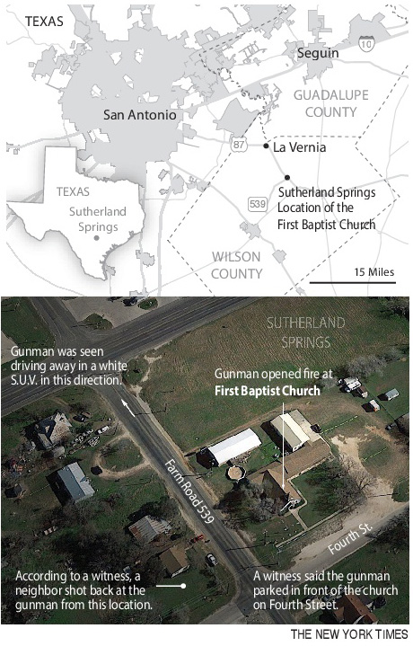 Graphic showing where a man opened fire inside a church in a small South Texas community on Sunday, killing 26 people and wounding at least 16 others in what the governor called the deadliest mass shooting in the state's history. (New York Times)