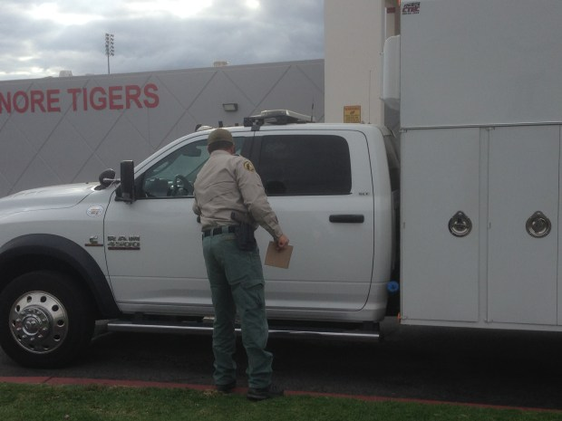 A member of the Riverside County sheriff's bomb squad leaves Elsinore High on Thursday, Nov. 2, 2017. The technicians were called to handledry ice, which can burn skin or rupture a sealed container when it reverts to its natural form as carbon dioxide. Photo by Brian Rokos, The Press-Enterprise/SCNG