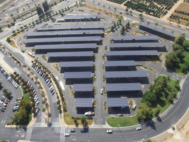 A summer project on the UC Riverside campus erected canopies bearing 9,600 solar panels. When it goes online, the panels in campus parking lots 30 and 32 will supply about 7.6 million annual kilowatt hours of power to the campus -- enough to power 788 homes. The canopies cover all of Lot 32 and part of Lot 30, located just north of Martin Luther King Boulevard at Canyon Crest Drive, in Riverside.