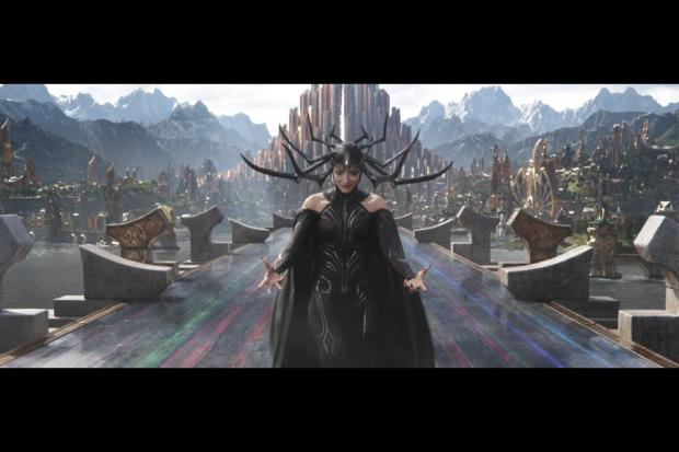 "Cate Blanchett as Hela, Goddess of Death in ""Thor: Ragnarok"""