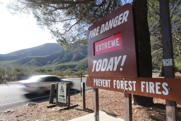 A sign in Lyle Creek informs the public that the fire danger is extreme all this week as the Santa Ana winds return on Monday, Dec. 4, 2017. (Stan Lim, The Press-Enterprise/SCNG)