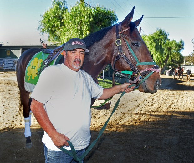 Owner and trainer Mick Ruis with Bolt d'Oro before the San Felipe Stakes at Santa Anita. (Photo by Walt Mancini)