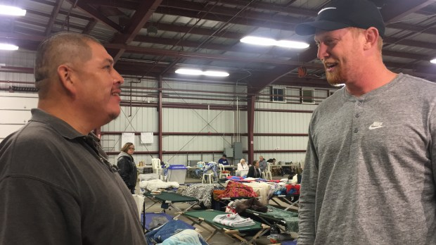 Jesse Mendoza of Ventura thanks Johnny Hekker, right, for his visit Tuesday night.Photo by Liset Marquez, Southern California News Group